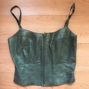 Snakeskin crop zipper top - Bebe
